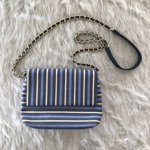 Talbots Awning Stripe Envelope Chain Strap Clutch